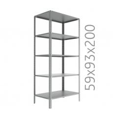 Raft arhivare solid, asamblare cu suruburi-piulite, H:200 cm, 5 polite 59x93 cm