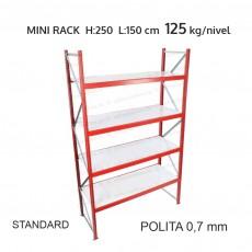 Raft metalic Mini Rack pentru depozitare usoara H:250x150x60 cm (0,7 mm)