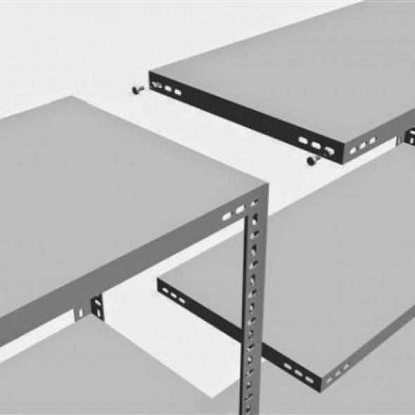 Raft arhivare solid, asamblare cu suruburi-piulite, H:250 cm, 5 polite 59x93 cm