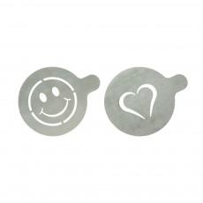 Set 2 sabloane cafea din inox: Inima si Smiley face