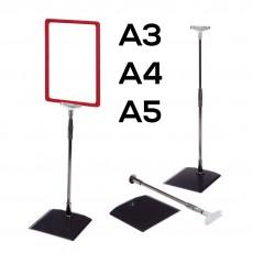 Stand afisare telescopic (negru + transparent) cu rame A5, A4 si A3