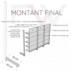 Rafturi metalice modulare - Montant final 225*60 cm