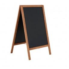 Panou stradal din lemn cu tabla magnetica A1, 2 fete din tabla neagra de scris