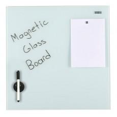 Tabla magnetica din sticla Mobech 90x60cm, suport marker, marker, burete si 3 magneti inclus, prindere in perete