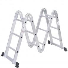 Scara articulata multifunctionala din aluminiu, 4x3 trepte, platforma de lucru, pliabil